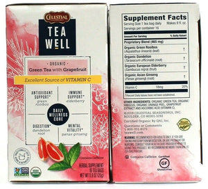 Celestial Seasonings Tea Well Organic Green Tea Grapefruit Antioxidant Immune