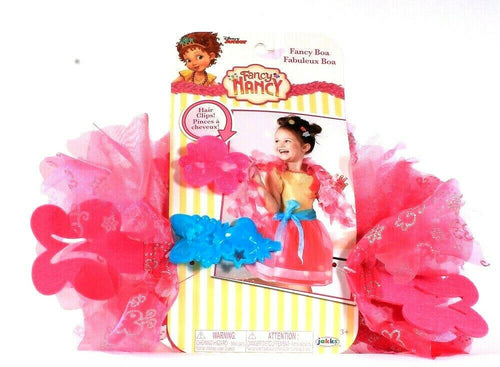 1 Disney Junior Fancy Nancy Dress Up Play Set Fancy Boa and 2 Hair Clips Pink