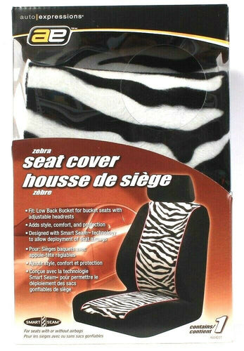 1 Count Auto Expressions 804227 Smart Seams Zebra Seat Cover Fit Low Back Bucket