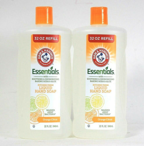 2 Ct Arm & Hammer 32 Oz Essentials Kitchen Fresh Orange Citrus Liquid Hand Soap