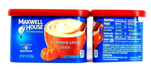 2 Count Maxwell House 9 Oz Pumpkin Spice Latte Cafe Style Beverage Mix BB 7/21