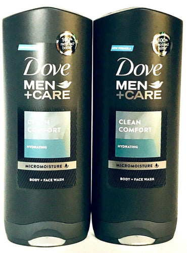 2 Dove 400 mL Men Care Hydrating Clean Comfort Micromoisture Body & Face Wash