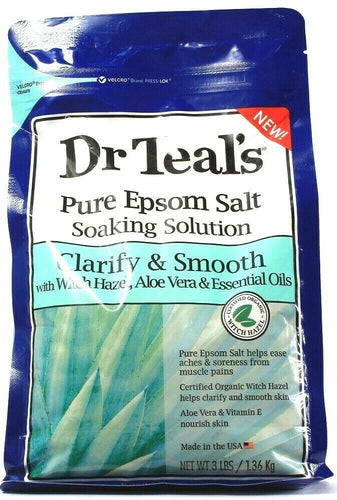 1 Count Dr. Teals Pure Epsom Salt Soaking Solution Clarify Smooth Aloe Vera 3Lbs