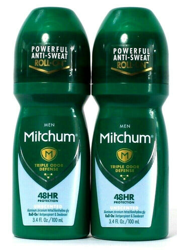 2 Mitchum 3.4 Oz Men Odor Defense Unscented Antiperspirant Deodorant Roll On