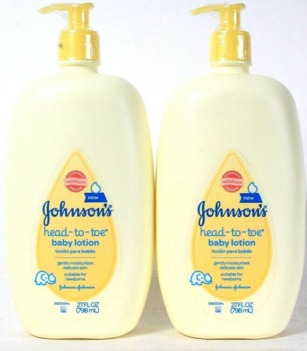 2 Bottle Johnson's 27 Oz Clinically Mild Head To Toe Gentle Moisture Baby Lotion