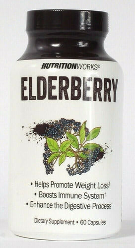 1 NutritionWorks Elderberry Promote Weight Loss 60 Capsules Dietary Supplement
