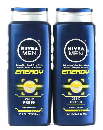 2 Bottles Nivea Men 16.9 Oz Energy With Mint 3 In 1 Body Wash Shower Shampoo