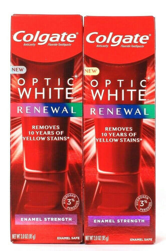 2 Colgate 3 Oz Optic White Renewal Enamel Strength Fluoride Toothpaste Exp 6/21