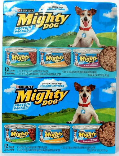 2 Packs Purina 4.12 Lb Mighty Dog Protein Packed 3 Flavors 12 Ct Cans Dog Food