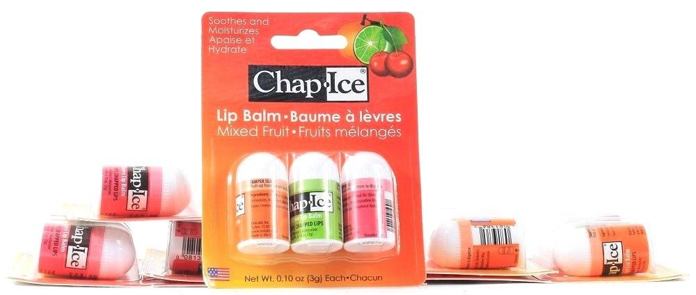 6 Chap Ice Lip Balm Mixed Fruit Citrus Lime Cherry Soothes Moisturizes 0.10 oz