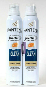 2 Cans Pantene Pro V 6 Oz Classic Clean In The Shower Foam Fine Flat Conditioner