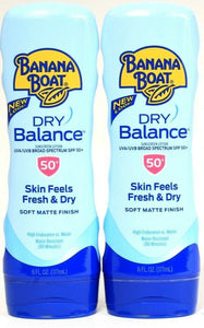 2 Banana Boat 6 Oz Dry Balance SPF 50 Soft Matte Finish Water Resist Sunscreen
