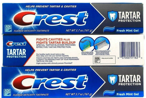 3 Count Crest Tarter Fluoride Anticavity Toothpaste Fresh Mint Gel 5.7Oz BB 8-22