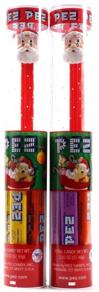 2 Pez Holiday Edition Santa Claus Pez Dispenser with Candy Stocking Stuffers