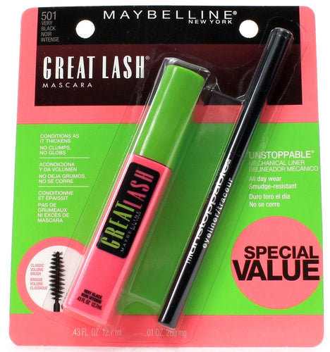 Maybelline New York 501 Very Black Great Lash Mascara Plus Unstoppable Liner