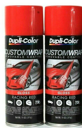 2 Cans Dupli-Color 11 Oz CustomWrap Gloss CWRC843 Racing Red Removable Coating