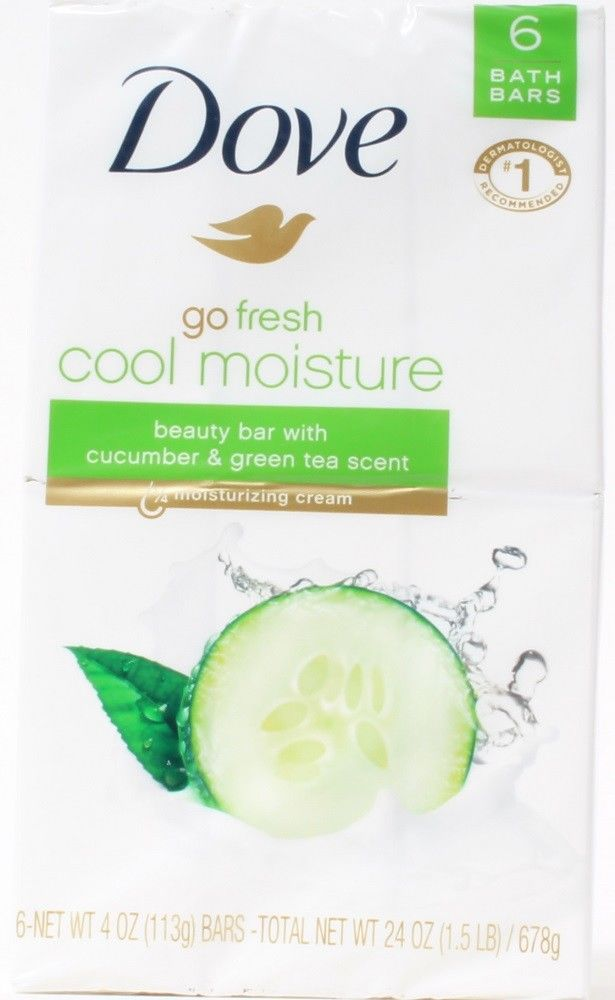 Dove Go Fresh Cool Moisture 6 Beauty Bars Cucumber Green Tea Scent 1.5 LB
