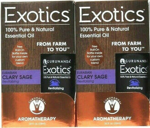 2 Count Gurunanda 0.33 Oz Exotics Eurasian Clary Sage 100% Pure Essential Oil