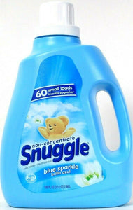 1 Bottle Snuggle 100 Oz Blue Sparkle Non Concentrate 60 Small Lds Fabric Softene
