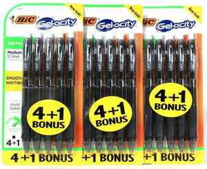 3 Packs Bic Gel-Ocity Med 0.7mm Smooth Writing Vivid Color 5 Ct Black Gels Pens