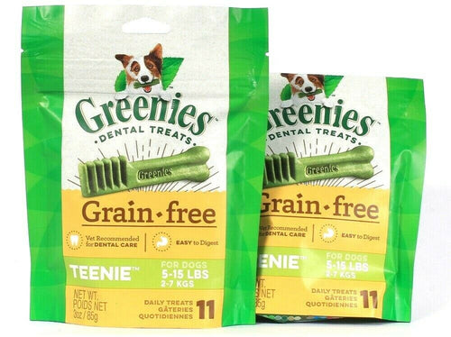 2 Bags Greenies 3 Oz Grain Free Teenie For Dogs 5 To 15 Lbs 11 Ct Daily Treats