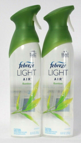 2 Bottles Febreze 8.8 Light Air Bamboo No Heavy Perfumes Air Refresher Spray