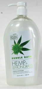 1 Bottle Natural Therapy 33.8 Oz Hemp & Lemongrass Cooling Calming Bubble Bath