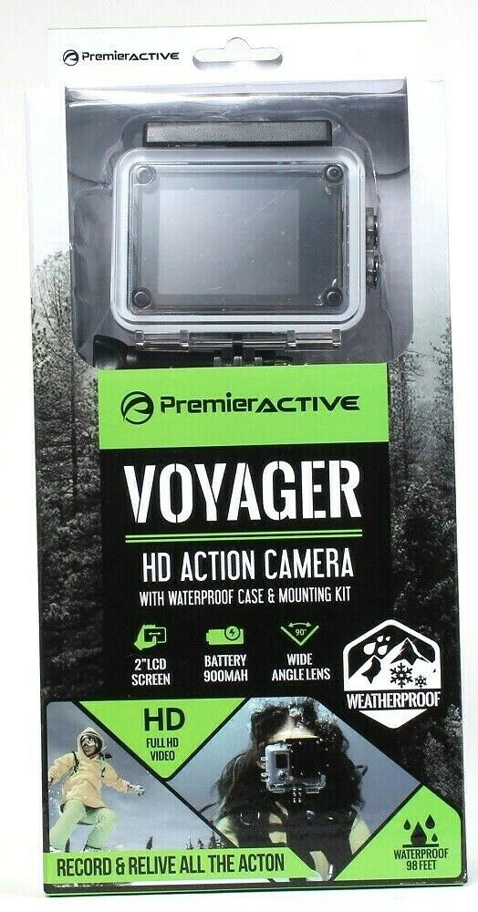 1 Premier Active Voyager PGAC01 Waterproof HD Action Camera & Mounting Kit