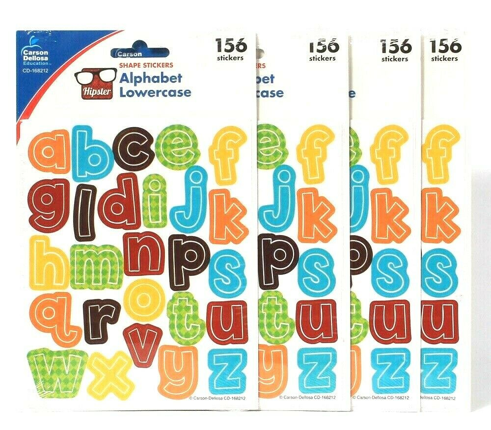 4 Packs Carson Dellosa Education Hipster 156 Alphabet Lowercase Shape Stickers