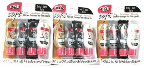 3 Packs Tulip Soft Neutral 4 Count Brush On Fabric Paint Gold Silver Black White