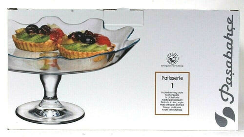 Pasabahce 95105 Patisserie Sodalime Glass Extra Resistant Footed Serving Plate