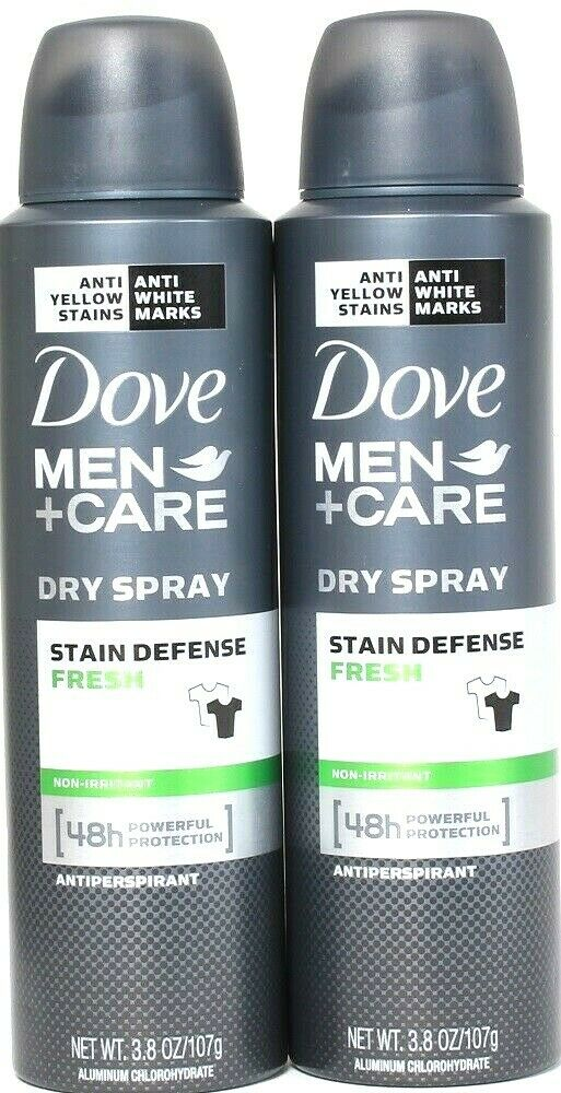 2 Dove 3.8oz Men Care Stain Defense Fresh 48 Hr Protect Dry Spray Antiperspirant