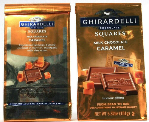 2 Bags Ghirardelli Chocolate Milk Chocolate Caramel Squares 5.3Oz BB 3-31-21