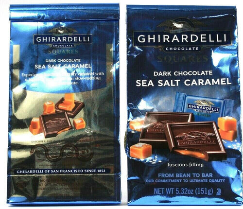 2 Bags Ghirardelli Choc Dark Chocolate Sea Salt Caramel Squares 5.3Oz BB 5-31-21