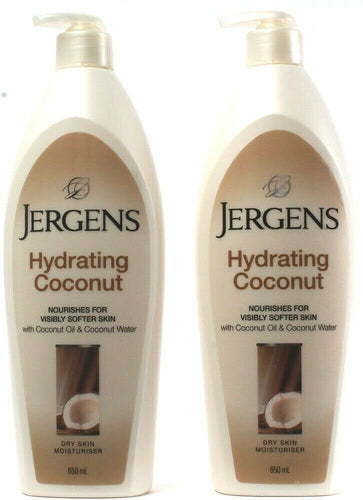 2 Ct Jergens Hydrating Coconut Dry Skin Moisturizer Nourishes Softer Skin 650 mL