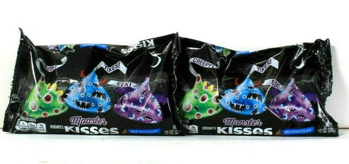 2 Bags Hershey's 10 Oz Monster Kisses Milk Chocolate Creepy Yikes BB 8/2021
