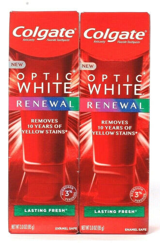 2 Ct Colgate 3 Oz Optic White Renewal Lasting Fresh Fluoride Toothpaste Exp 7/21