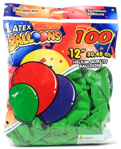 "100 Latex Balloons High Quality 12"" 12 Inch Helium Kaleidoscope Green Round"