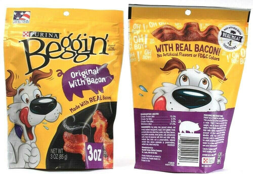 2 Bags Purina 3 Oz Beggin Real Meat Original With Bacon Dog Treats BB 1-2022