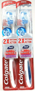 2 Ct Colgate 360 Optic 2X Whitening Action Platinum Medium Spiral Toothbrush