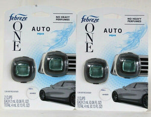 2 Packs Febreze One 0.13 Oz Auto Aqua No Heavy Perfumes 2 Ct Car Air Freshener