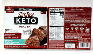 2 Boxes SlimFast 7.4 Oz Keto Whipped Triple Chocolate Whey Protein Meal Bars