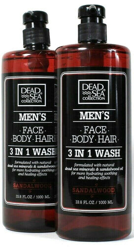 2 Dead Sea Collection 33.8 Oz Men's Sandalwood Oil Face Body Hair 3 In 1 Wash