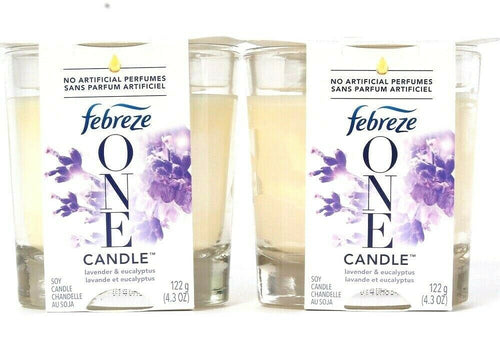 2 Count Febreze One 4.3 Oz Lavender Eucalyptus No Artificial Perfumes Soy Candle