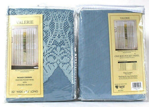 "2 Count United Valerie 52"" X 84"" Blue Rod Pocket Panel With Attached Valance"