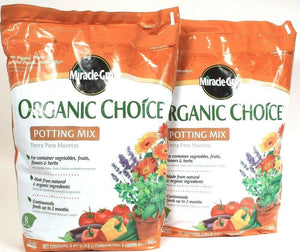 2 Bags Miracle Gro Organic Choice Natural Ingredients 8 Dry Qt Potting Mix
