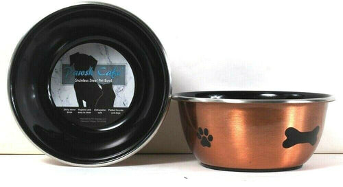 2 Ct Pet Impulse Pawsh Cafe Gold & Black 2 Cup Small Stainless Steel Pet Bowl