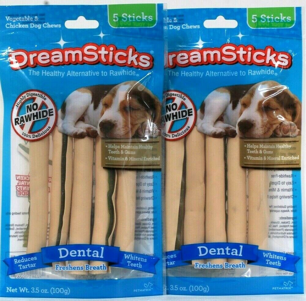2 Packs DreamSticks 3.5oz Dental No Rawhide Vegetable & Chicken 5 Ct Chew Sticks