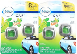 2 Febreze With Gain Original 2 Count Car Vent Clips With Odor Clear Technology