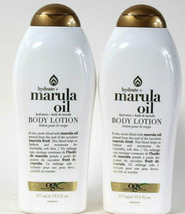 2 Bottles Ogx 19.5 Oz Hydrate Marula Oil For Touchable Soft Skin Body Lotion
